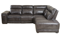 Contemporary sectional with chaise, dual power recliners and power headrests in grey top-grain leather - Side View