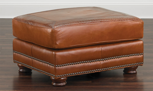 American-made 30-inch ottoman in cognac top-grain leather