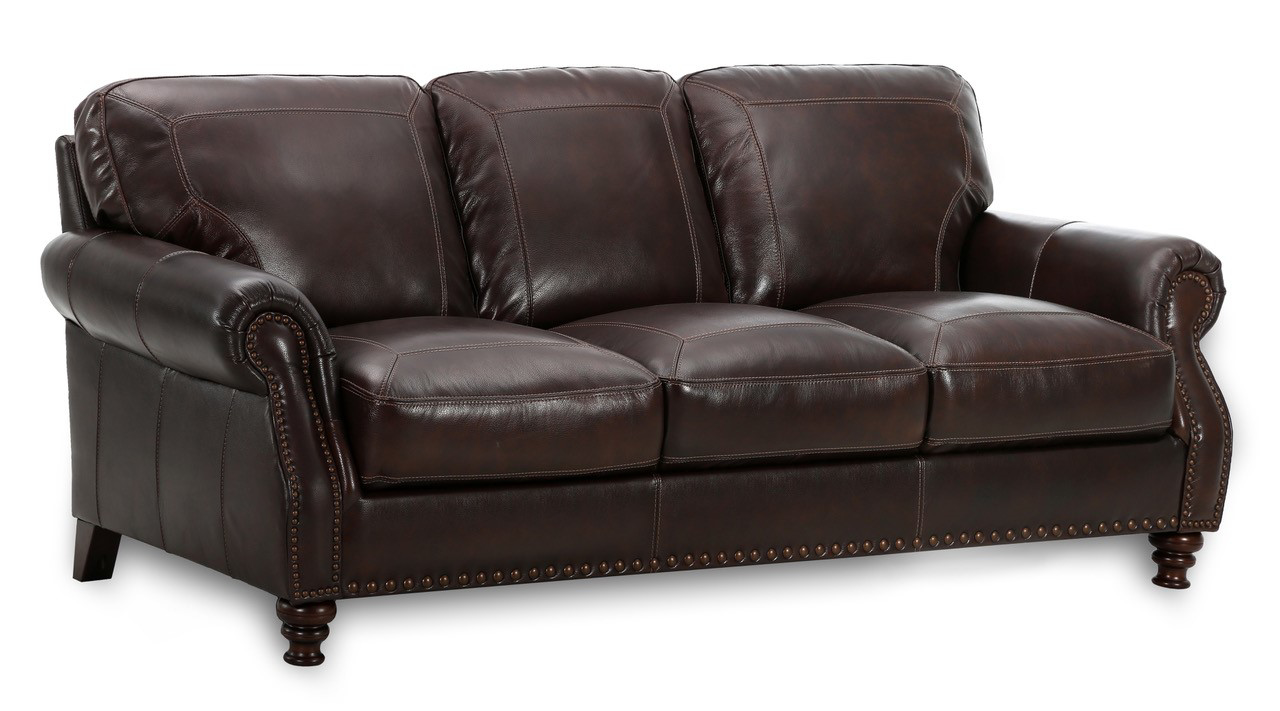 Traditional roll arm sofa with nail head trim in deep brown top-grain leather in living room