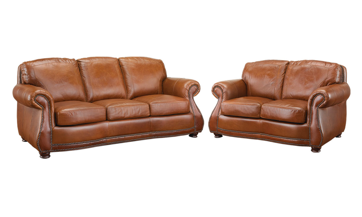 Heirloom 2-piece living room set with sofa and loveseat in cognac top-grain leather