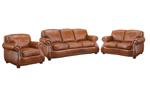 Luxury 3-piece living room set with sofa, loveseat and chair in cognac  top-grain leather from Rocky Mountain Leather