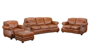 Rocky Mountain Leather Brandy Alligator Top-Grain Leather 4-Piece Living Set