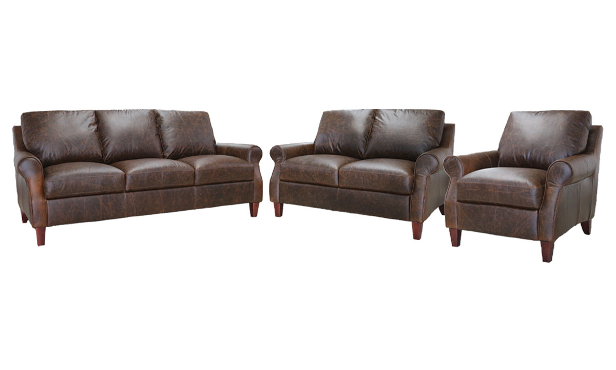 Casual 3-piece living room set with sofa, loveseat and chair in chocolate brown top-grain leather atop wooden feet.