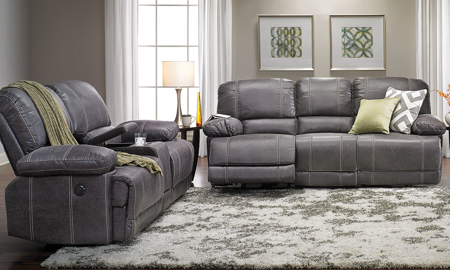 Modern 2-piece power reclining sofa set in grey faux leather with exposed stitching