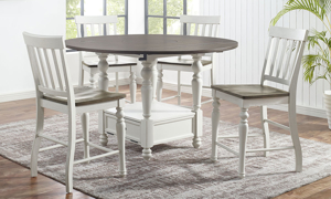 Joanna Farmhouse Round Counter Height 5-Piece Dining Set