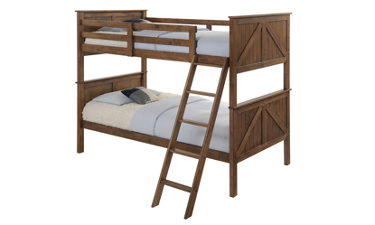 Rustic twin over twin bunkbed in brown oak finish with ladder