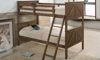 Rustic twin over twin bunkbed in brown oak finish in youth bedroom