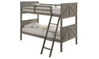 Rustic twin over twin bunkbed with ladder in weathered grey finish.