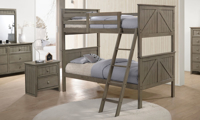 Rustic bunkbed bedroom set  with twin over twin bunkbed, dresser and nightstand in weathered grey finish.