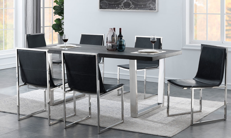 Modern 5-piece dining set includes 71-inch gray veneered table with stainless steel base and 4 leather-look side chairs with stainless steel frame