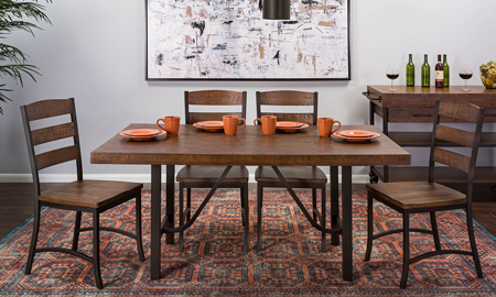 Industrial chic 5-piece dining set includes 40-inch dark brown pine and iron table and 4 matching slat back chairs