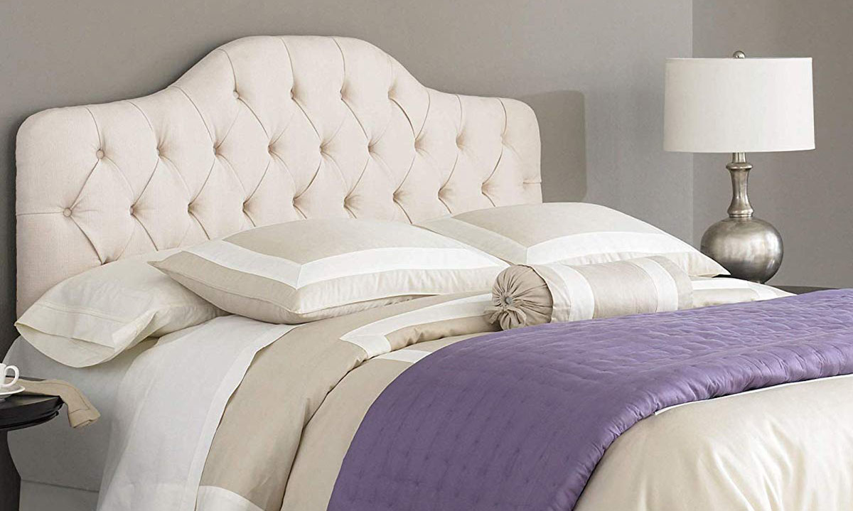 Martinique Full/Queen Button-Tufted Headboard Ivory
