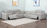 Contemporary 6-piece sectional with two power recliners and storage with USB in light gray faux leather.