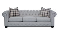 98-inch Chesterfield sofa in grey upholstery with button tufted back and roll arms - Front Shot