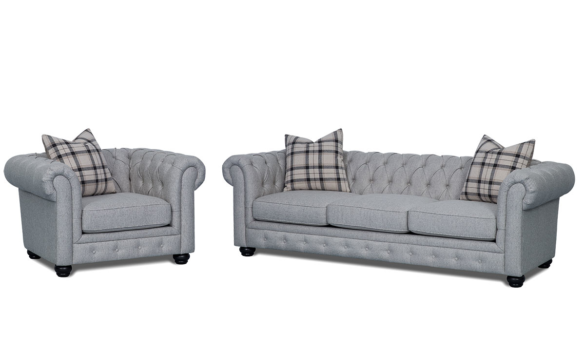 2-Piece Chesterfield living room set with 98-inch sofa and 49-inch chair in stone grey upholstery