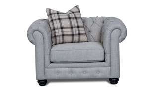 49-inch Chesterfield armchair with button tufting and rolled arms in stone grey upholstery and toss pillow