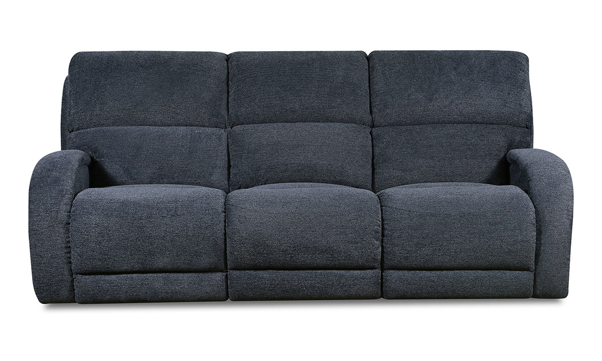 89-inch casual wall-hugger sofa with 2 recliners in dark blue fabric