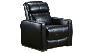American-made theater power recliner with plush  headrest in black leather-like upholstery