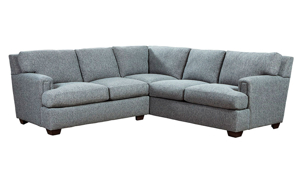Casual 2-piece sectional with sea-blue stain-resistant fabric with plush pillow-back.