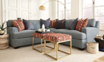 Carolina Custom Bowden 2-Piece Sectional Sea Blue and 7 Pillows