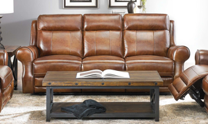 Era Nouveau Roll Arm Sofa with Power Headrest, Power Recliner and USB Charging in Rich Brown Top Grain Leather