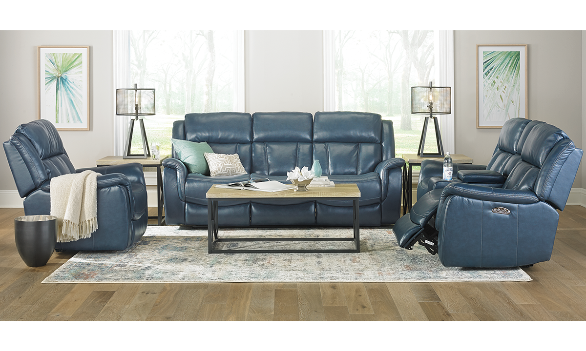 Fashionable 3-piece reclining sofa set with 86-inch sofa, loveseat and chair in blue leather