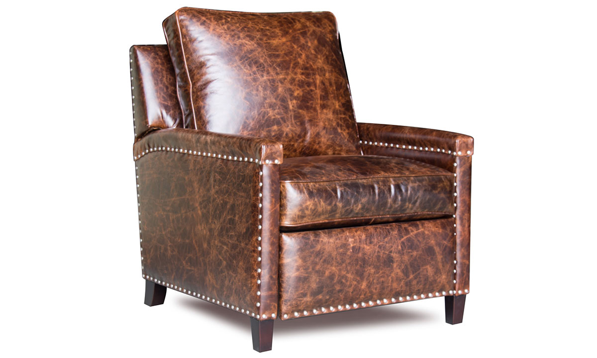 Vintage track arm accent chair with pushback recliner in brown buffalo leather with nailhead trim