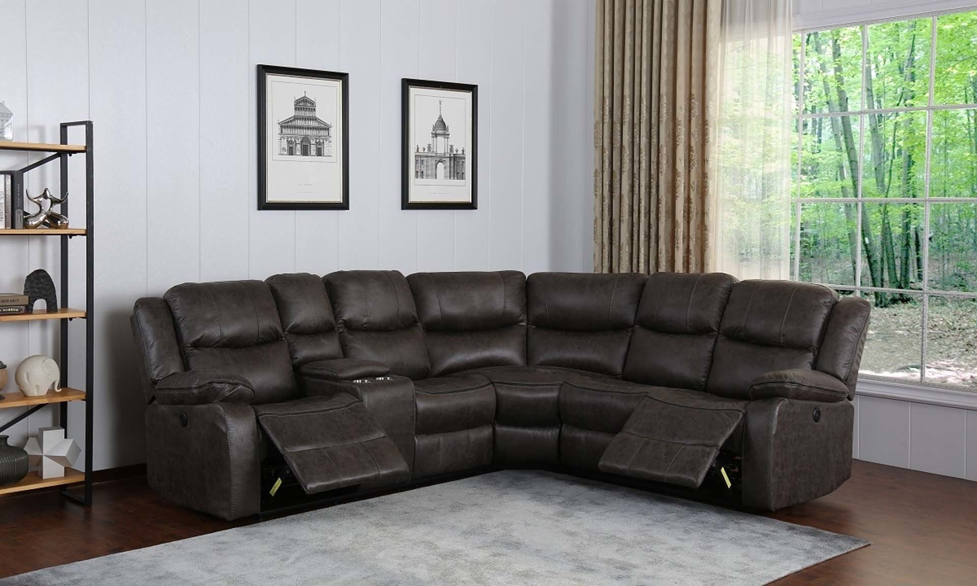 Gray Dual Power Reclining Storage Sectional The Dump