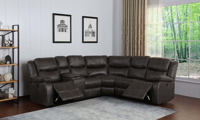 Contemporary dual power reclining sectional sofa with storage in gray faux leather upholstery - Recliners open