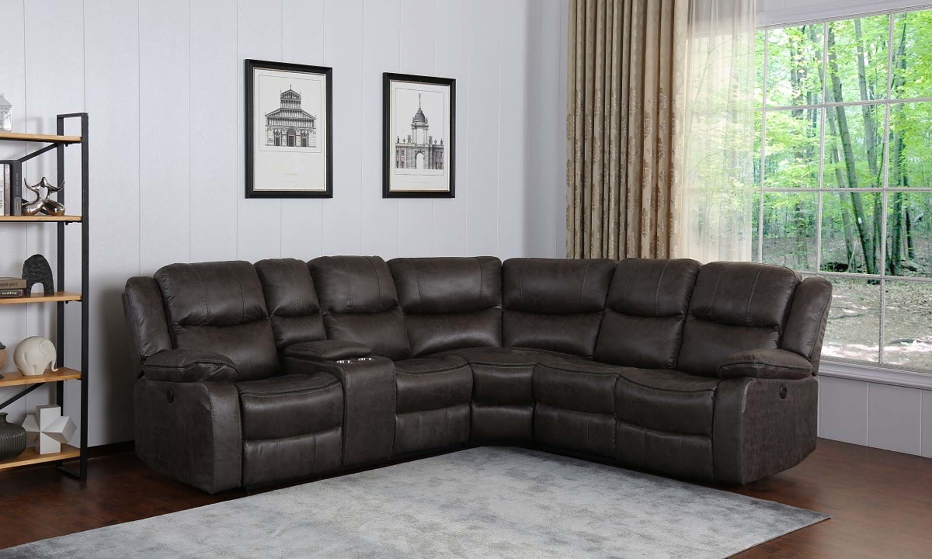 Contemporary dual power reclining sectional sofa with storage in gray faux leather upholstery - Recliners Closed