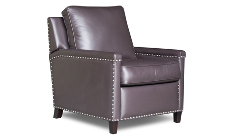 Contemporary track arm accent chair with pushback recliner in chocolate brown leather