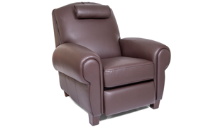 Power Recliner with Memory Foam Seating in Coffee Bean Brown Faux-Leather Upholstery - AngleShot