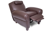 Power Recliner with Memory Foam Seating in Coffee Bean Brown Faux-Leather Upholstery - Reclined
