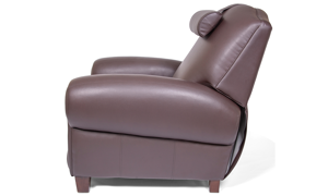 Power Recliner with Memory Foam Seating in Coffee Bean Brown Faux-Leather Upholstery - Side Shot