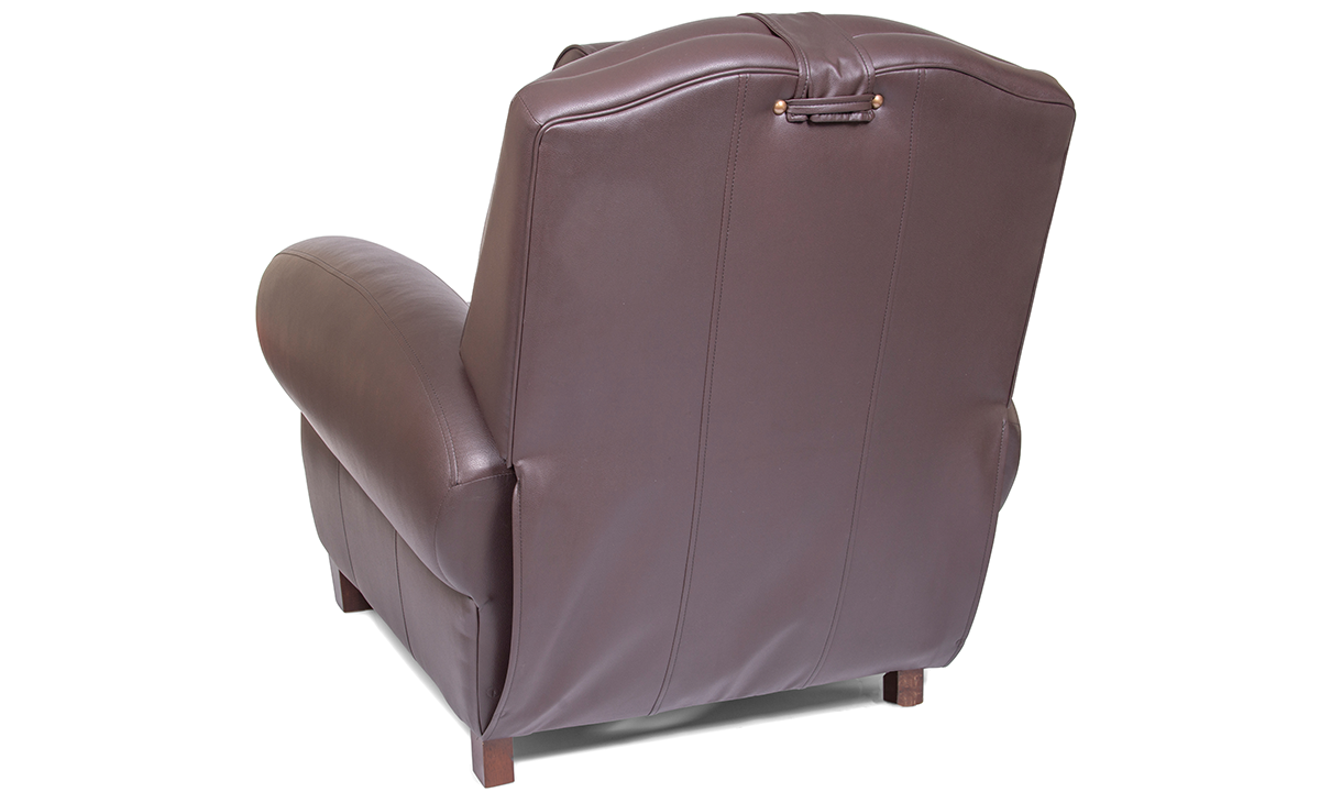 Power Recliner with Memory Foam Seating in Coffee Bean Brown Faux-Leather Upholstery - Back
