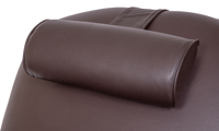 Power Recliner with Memory Foam Seating in Coffee Bean Brown Faux-Leather Upholstery - Headrest