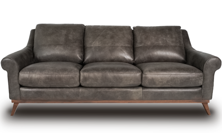 Mid-century modern top-grain leather sofa in Hearth Brown- Front View