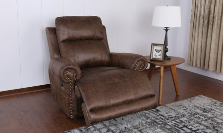 Traditional plush recliner with roll arms in brown faux leather - Open Recline
