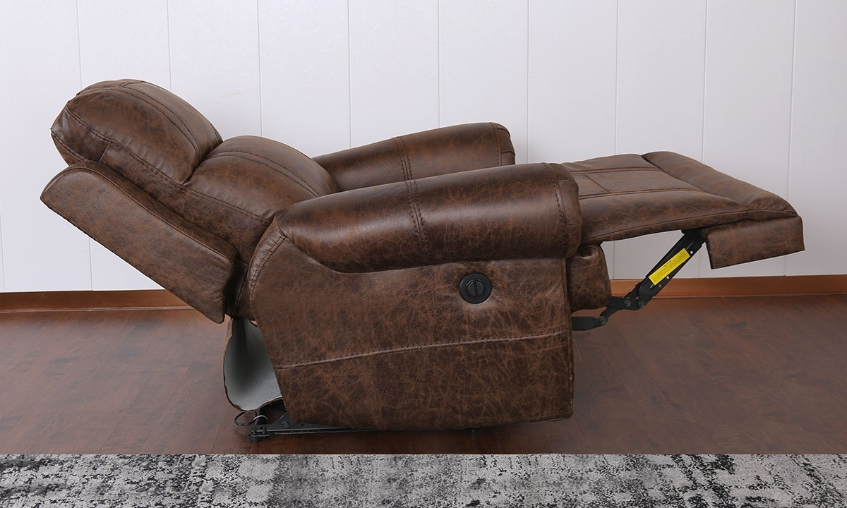 Traditional Wall Way Roll Arm Power Recliner Brown The