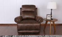 Traditional plush recliner with roll arms in brown faux leather - Closed