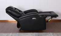 Wall Away Theater-Style Power Recliner with Cup Holders & USB in Black Faux Leather - Full Recline Side View