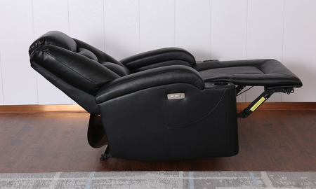Wall Away Theater-Style Power Recliner with Cup Holders & USB in Black Faux Leather