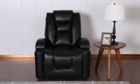 Wall Away Theater-Style Power Recliner with Cup Holders & USB in Black Faux Leather - Front View