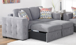 Rowan grey fabric loveseat with pop-up sleeper space underneath and two included throw pillows.
