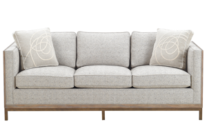 A.R.T. Hollister Husk Wood Sofa in Neutral Textured Upholstered on Oak and Metal Base with Accent Pillows - Front View