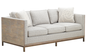 A.R.T. Hollister Husk Wood Sofa in Neutral Textured Upholstered on Oak and Metal Base with Accent Pillows - Angled View
