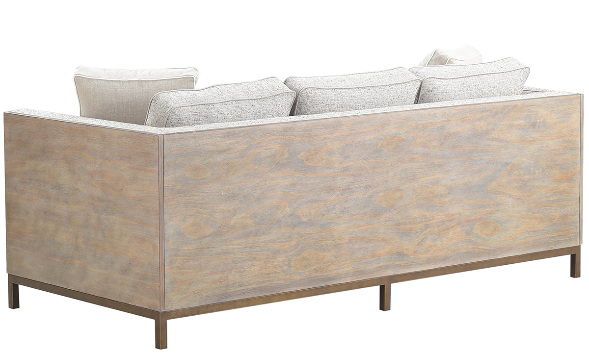 A.R.T. Hollister Husk Wood Sofa in Neutral Textured Upholstered on Oak and Metal Base with Accent Pillows - Back View