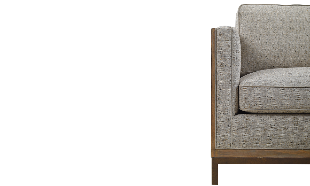 A.R.T. Hollister Husk Wood Sofa in Neutral Textured Upholstered on Oak and Metal Base with Accent Pillows - Close Up Front View