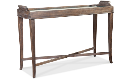Contemporary wood grain sofa table with mirrored table insert  with cabriole legs and x-style brace