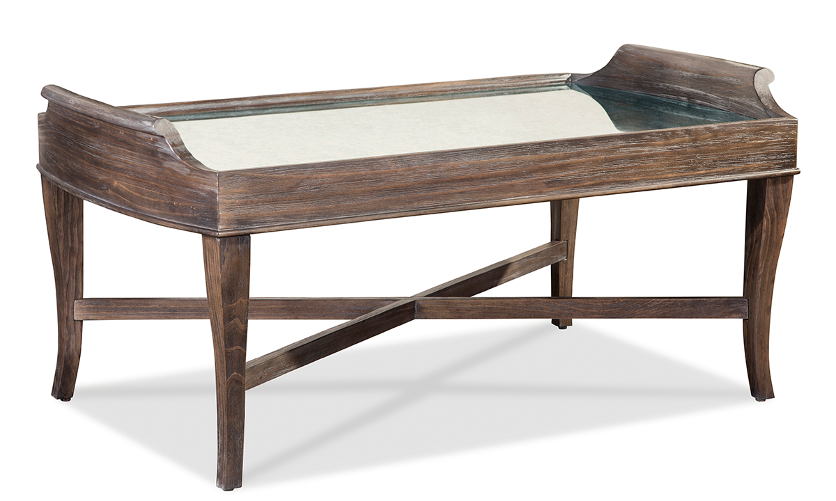 Contemporary cocktail table with mirrored inset with cabriole legs and X-brace in warm coffee tone.